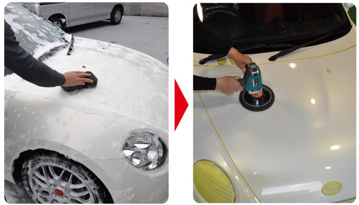 洗車から艶出し作業